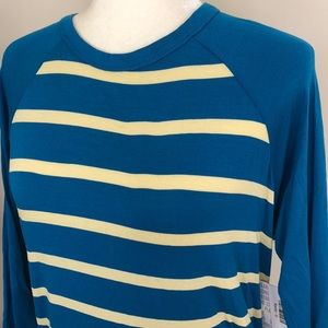 Lularoe Blue Yellow Stripe RAYON Small 6 - 8 Randy